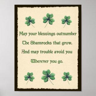 Impresión irlandesa de la bendición de los trébole póster