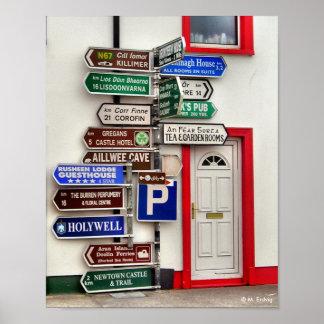 Impresión irlandesa del poste indicador impresiones