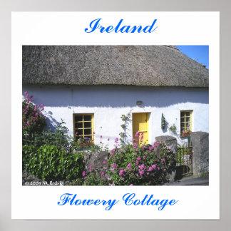 Impresión irlandesa florida de la cabaña póster