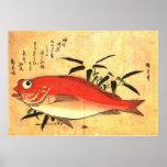 Impresión japonesa colorida de los pescados de Ako Impresiones