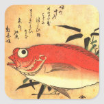 Impresión japonesa colorida de los pescados de calcomanía cuadrada