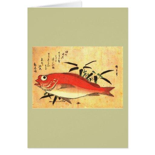 Impresión japonesa colorida de los pescados de tarjeta de felicitación