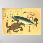 Impresión japonesa de Kani y de los pescados de Póster