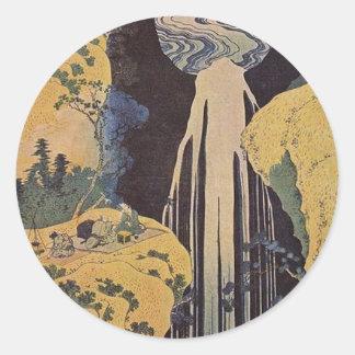 Impresión japonesa de la cascada pegatinas redondas