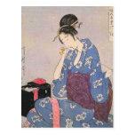 Impresión japonesa de la costura de la mujer postal