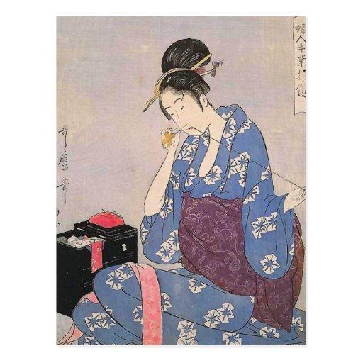 Impresión japonesa de la costura de la mujer tarjetas postales