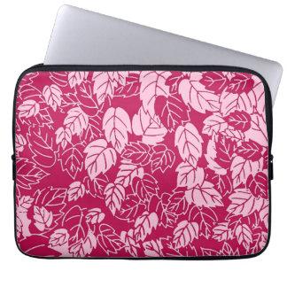 Impresión japonesa de la hoja, fucsia y rosa claro funda computadora