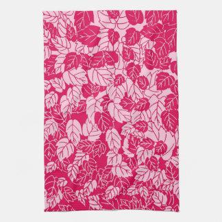 Impresión japonesa de la hoja, fucsia y rosa claro toalla