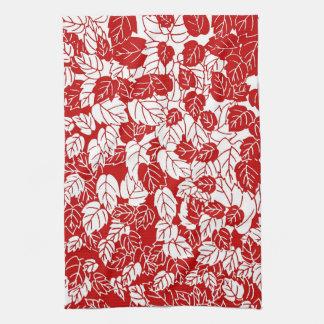 Impresión japonesa de la hoja, rojo oscuro y toalla de mano