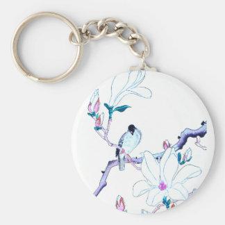 Impresión japonesa de la magnolia y del pájaro llavero redondo tipo pin