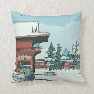 Impresión japonesa de la nieve de la pagoda del cojines