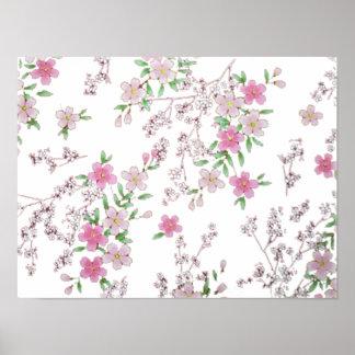 Impresión japonesa de las flores de cerezo póster