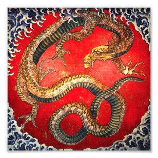 Impresión japonesa del dragón del oro de Hokusai Foto