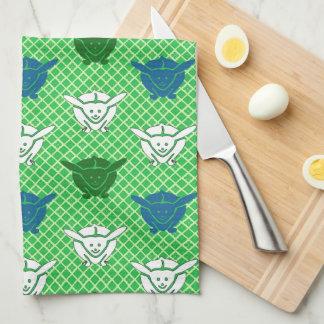 Impresión japonesa, verde, azul y blanco del conej toalla de cocina