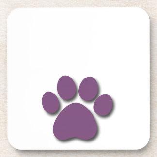 Impresión juguetona de la pata del perro para el posavasos de bebida