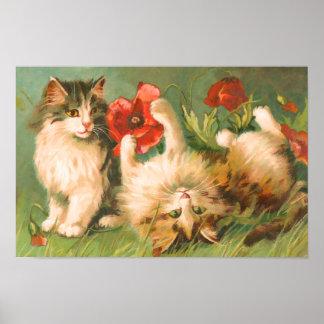 Impresión juguetona de los gatitos del vintage