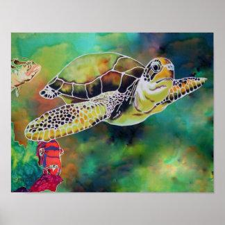 """Impresión """"La Tortue """" de la tortuga de la tortuga Póster"""