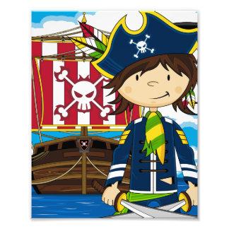 Impresión linda de la foto del pirata y de la nave fotografía