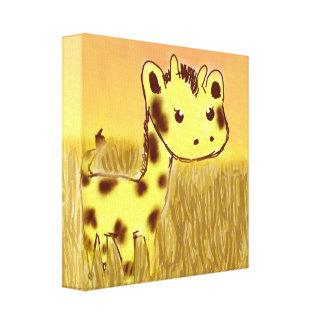 Impresión linda de la lona de la jirafa