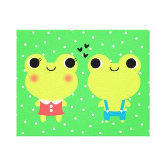Impresión linda de la lona de los pares de la rana impresión en lona estirada