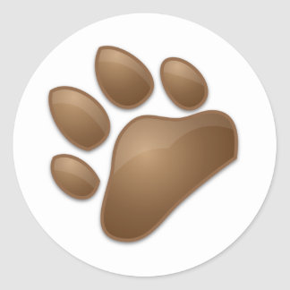 impresión linda de la pata pegatina redonda