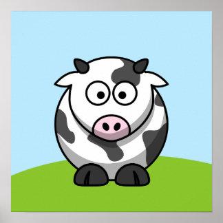 Impresión linda de la vaca poster