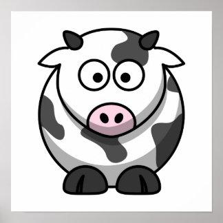 Impresión linda de la vaca póster