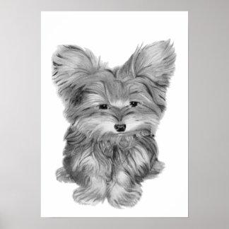 Impresión linda del perro de Yorkie Póster