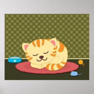 Impresión linda del poster de la diversión del gat