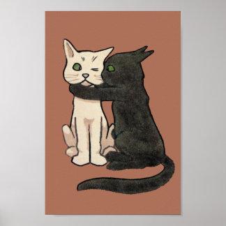 Impresión linda del poster del arte del gato del v