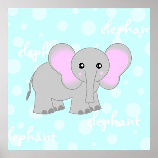 Impresión linda del poster del elefante gris/azul