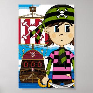 Impresión linda del poster del pirata y de la nave