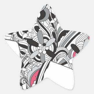 Impresión loca del elefante del flower power de pegatina en forma de estrella