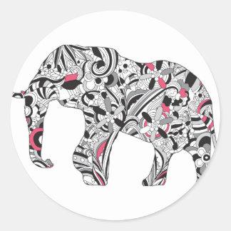 Impresión loca del elefante del flower power de pegatina redonda