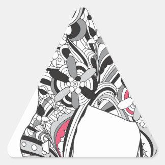 Impresión loca del elefante del flower power de pegatina triangular