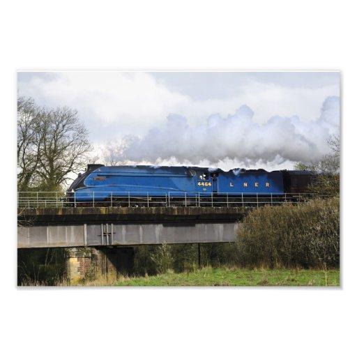 Impresión locomotora del tren viejo del vapor de l fotografia