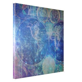 Impresión mágica de la lona del mapa del mundo de impresiones de lienzo