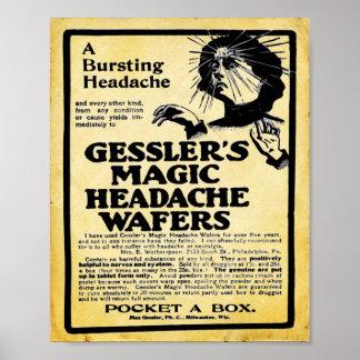 Impresión mágica de las obleas del dolor de cabeza poster