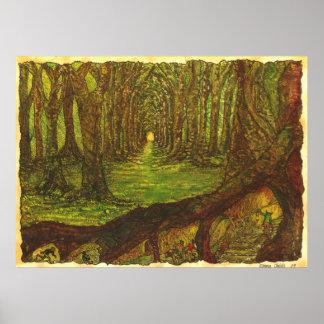 Impresión mágica de madera 20x16 del arte del poster