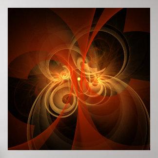 Impresión mágica del arte abstracto de la mañana póster