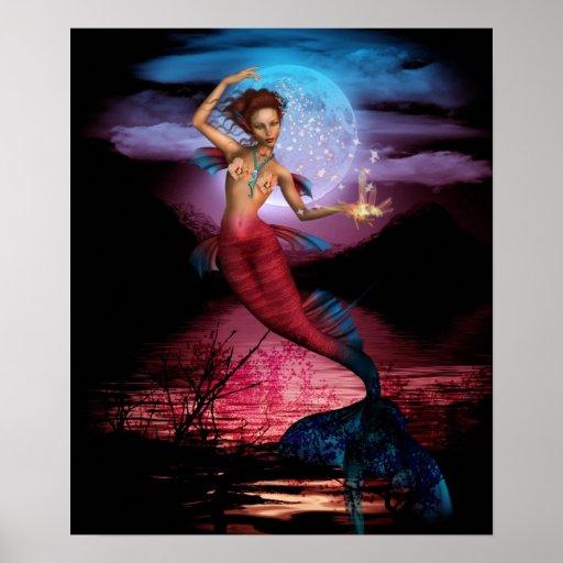Impresión mágica del poster de la luna de la siren
