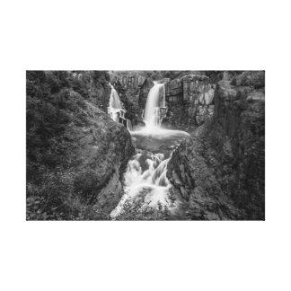 Impresión magnífica de la lona de la cascada B&W d Impresion De Lienzo