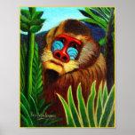 Impresión: Mandrill en la selva de Henri Rousseau Poster