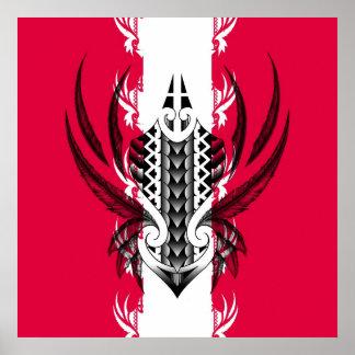 Impresión maorí del arte con los tatuajes póster