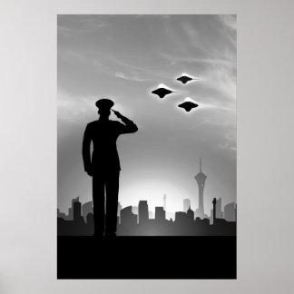 Impresión marina del UFO que saluda Posters