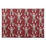 Impresión marrón del mono del calcetín mantel individual