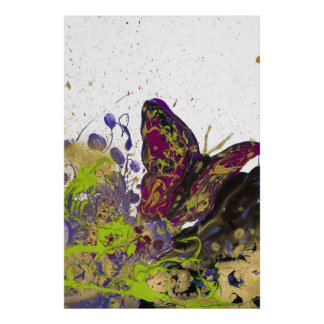 "Impresión mate salpicada de la mariposa (32"" x póster"