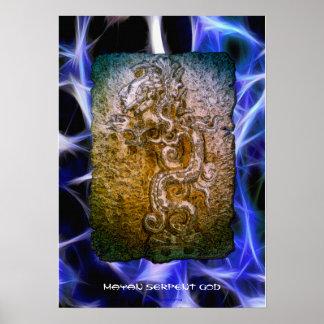 Impresión maya del arte de dios de la serpiente de impresiones