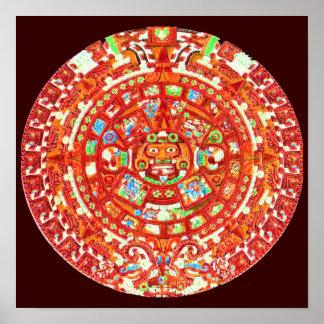Impresión maya del poster del diseño del calendari