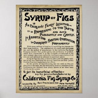 Impresión medicinal del vintage - jarabe de higos